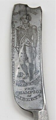Very Early Horn Straight Razor With George Washington etched on the face