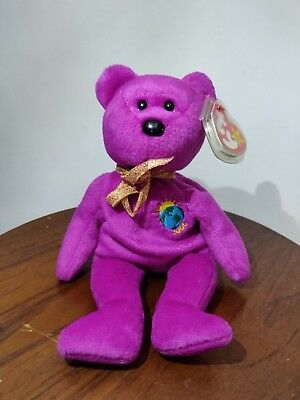 """Rare Ty Beanie Baby """"Millennium"""" with errors on swing and tush tags (4 errors)"""