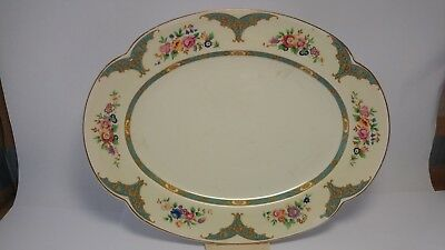 Johnson Brothers Pareek Shape Turquoise Oval Serving Platter With Rose & Florals