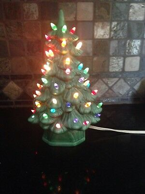 11 1/2 Inch Ceramic Christmas Tree With Lights 2 Pieces.holland Mold