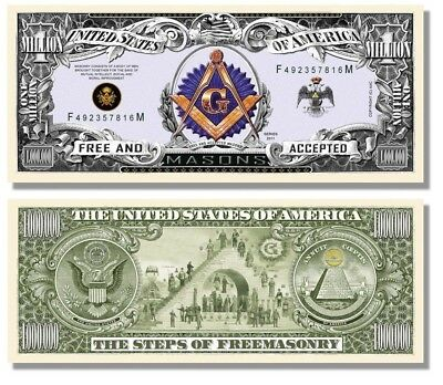 5 Factory Fresh Freemason Masonic Million Dollar Bills