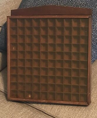 Vintage wooden thimble display case