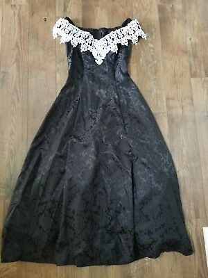 VINTAGE 80S BLACK LACE JESSIC MCCLINTOCK GUNNE Sax Dress 11/12 goth prom punk