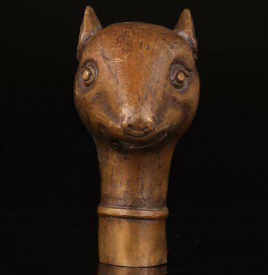 Cane Walking Stick Head Statue Animal Mouse Handle Bronze Old