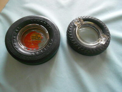 Vintage Lot of 2 Tire Ashtrays Ash Trays Wheel General and GoodYear Good Year