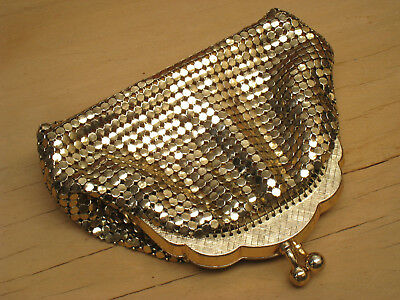 vintage gold GLOMESH coin purse SMALL gold evening purse 1970s
