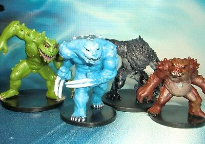 Dungeons & Dragons Miniatures Lot Black Slaad Blue Slaad Red Slaad !!  s136