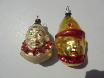 Pair Old Antique Blown Glass Christmas Ornaments Clowns or Jesters