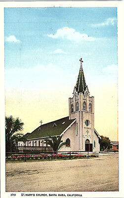 Santa Maria, California, St. Mary's Church - Postcard (KK)