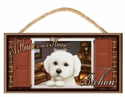 "Bichon Frise ""Paws on the Windowsill"" A House is Not a Home Dog Sign / Plaque fe"