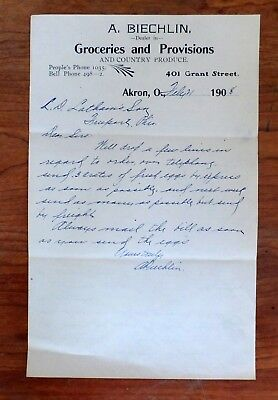 1908 A. Biechlin Groceries & Provisions & County Produce Akron, OH Letterhead