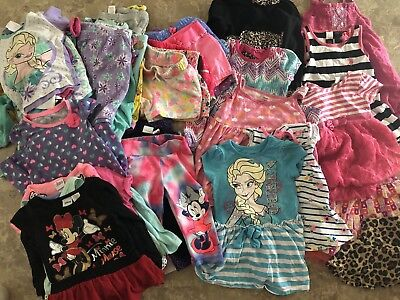 62 Piece Assorted Lot of Toddler Girls 3T, Dresses Leggings Shorts Tops Pajamas