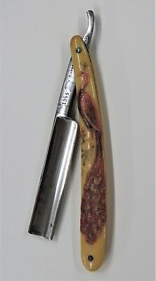 Molded Celluloid Straight Razor With a Beautiful Peacock made by Jahre