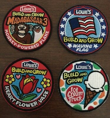 Lot Of 4 Lowe's Build And Grow Patches. Flag, Vase, Ice Cream Truck, Madagascar