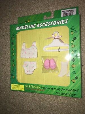 """1998 Madeline Doll Clothes 8"""" Panties Undershirt Hangers Socks Pink Shoes NRFB"""