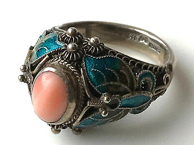 Vintage Chinese Sterling Silver Filigree Enamel Angle Skin Coral Ring