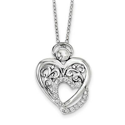 Sterling Silver W/ Rhodium-plated CZ Angel Of Marriage 18in. Necklace
