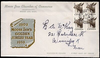 (J-134) Canada 1953 # 323 block of 4 on FDC - Moose Jaw cachet