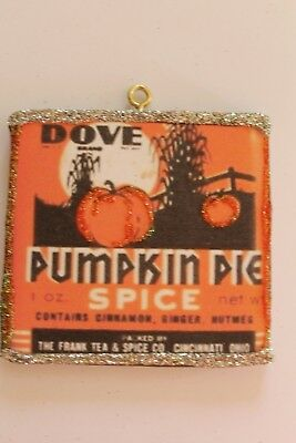 Pumpkin Pie Spice Tin * Halloween Ornament * Vtg Image * Glitter