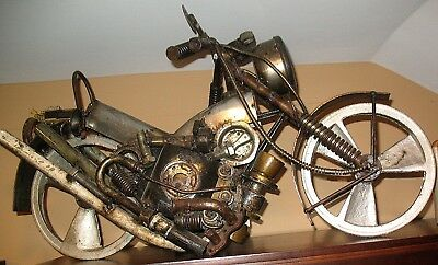 Unique Welded Metal Found Objects Motorcycle Sculpture