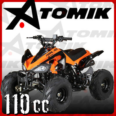 New Atomik Feral 110Cc Atv Quad Dirt Bike 4 Wheeler Mx Motorcross Terrain Pit Ag