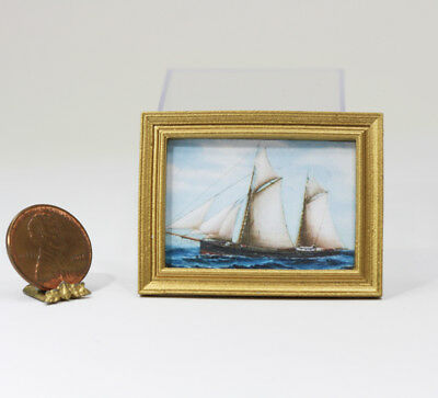 Dollhouse Miniature Gold Framed Print of a Famous Vintage Sailboat Painting