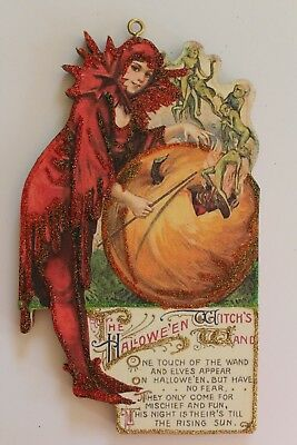 Witch in Red w Goblins  * Halloween Ornament * Vtg. Card Image * Glitter