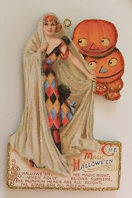 Lady in Costume with JOL's * Halloween Ornament * Vtg. Card Image * Glitter