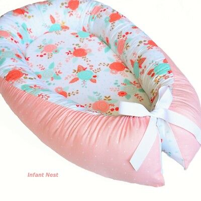 Baby Nest Snuggle Bed Infant Sleep Pillow Floral Crib Bedding for Baby Girl