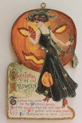 Gorgeous Lady & Huge JOL * Halloween Ornament * Vtg. Card Image * Glitter
