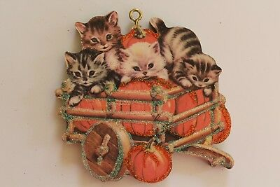 Kittens in Cart of Pumpkins * Halloween Ornament * Vtg. Card Image * Glitter