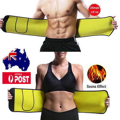 Men Women Waist Trimmer Trainer Neoprene Sweat Burn Fat Belt Slimming Shaper AU