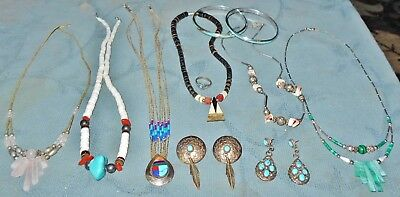 Nice Group  Vintage  Native Design Jewelry  Genuine Turquoise  Some Silver