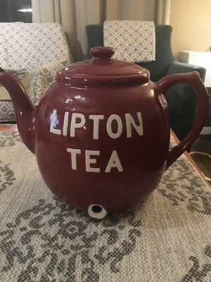 RedLipton Iced Tea Teapot Pot Ceramic Dispenser Hall USA - No Spicket