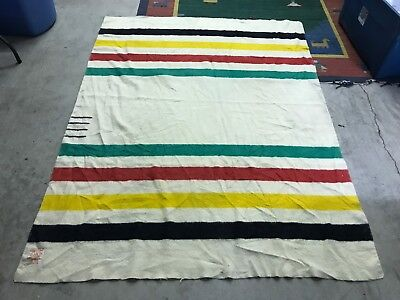 """86.5"""" X 66.5"""" - Vtg Hudson's Bay 4 Point Candy Striped Wool Blanket Made England"""
