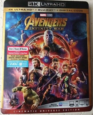 Avengers- INFINITY WAR- 4K UHD + BR +Digital) with SLIP COVER *FREE SHIP*