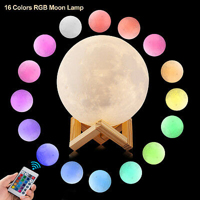 Moon Lamp Led Night Light Lunar Dimmable Remote Control 16 Colors Rgb T