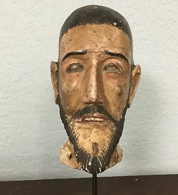 ESTATE Rare Life Size 18th Century Spanish Colonial Santo Head