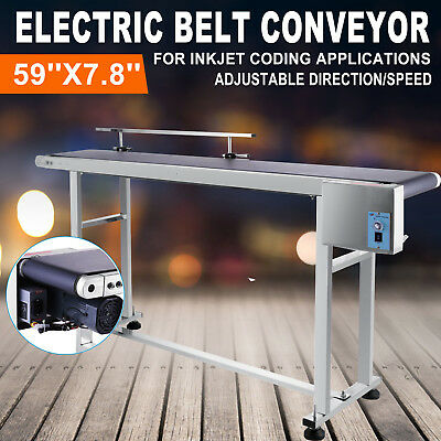 "Top-grade Conveyor 110V Powered Rubber PVC Belt 59""x 7.8"" CE APPROVED"