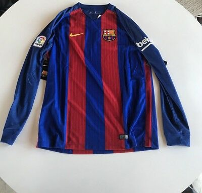 Nike Barcelona 2016-2017 Long Sleeve Home Jersey Men's Size Large NWT