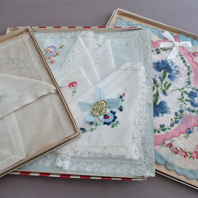 Lot 3+ Vintage Embroidered PRINTED + Decorated Handkerchiefs * Original Boxes