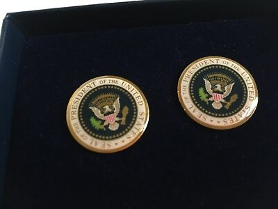 Pair of Authentic Presidential Seal Bill Clinton Cuff Links - Full Color Seal