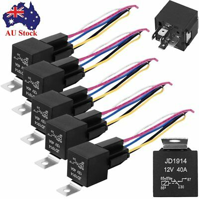 AU 5pcs 12V 40 Amp 5-Pin SPDT Automotive Relay with Wires & Harness Socket Set