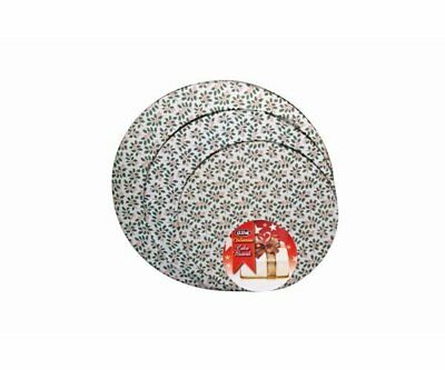 NEW D.Line 35cm Round Cake Board Xmas Holly