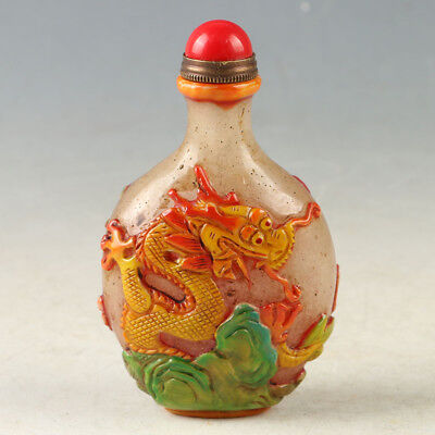 China Glaze Hand painting Carved Dragon Snuff Bottle W QianLong Mark 929