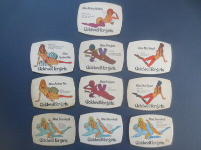 """10 Different GOLDWELL for Girls """"NUDE """" Issue collectable COASTERS"""