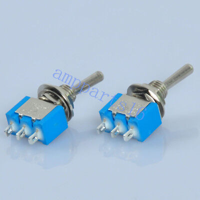 10pc Blue Mini Toggle Switch DPDT ON-ON Solder 3Pin 6A for Guitar Amp DIY Audio