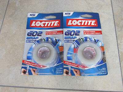 Lot of (2) Loctite Go2 Clear Repair Wrap 1-Inch by 7.5-Foot Roll - Self-Fusing
