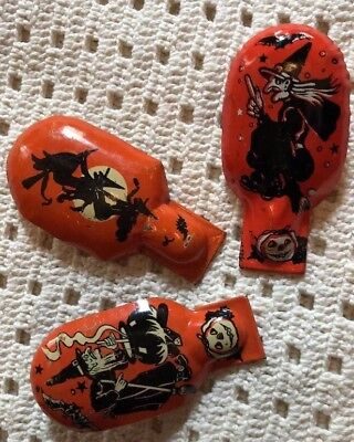 THREE Vintage Tin Litho Witches HALLOWEEN Clickers 🎃