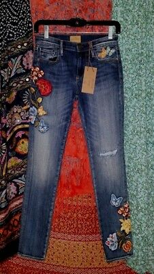 Women's Driftwood Marilyn Jeans Distressed Skinny Embroidered Butterfly 25 27W